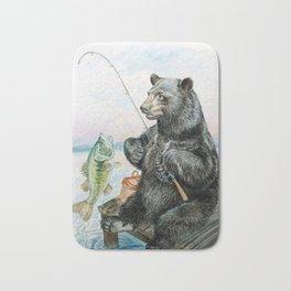 Black Bear catching a Bass Bath Mat