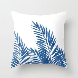 Palm Leaves Dark Blue Throw Pillow