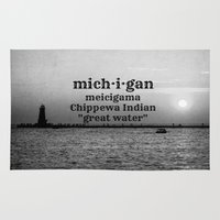 michigan Area & Throw Rugs featuring Michigan by KimberosePhotography