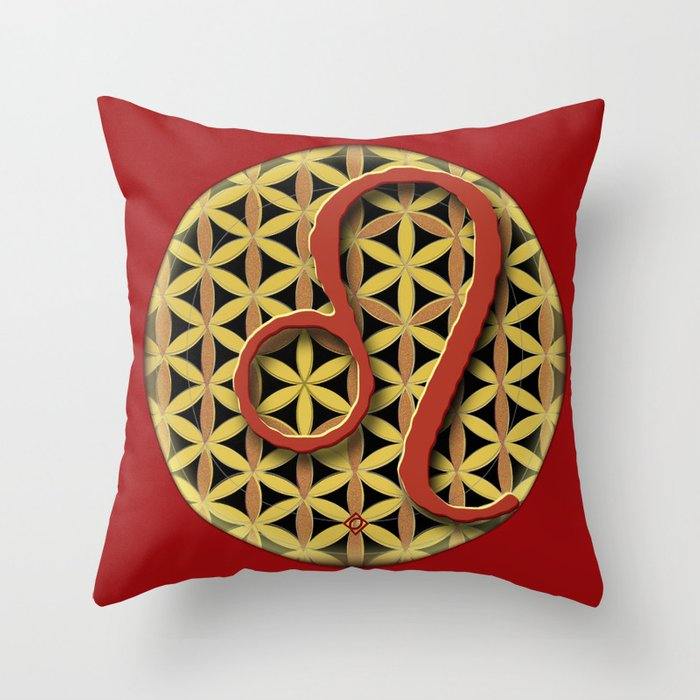 Flower of Life LEO Astrology Design Throw Pillow