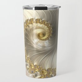 Gold and Pearl Fractal Swirl Travel Mug