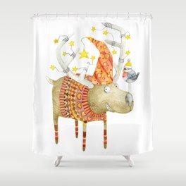 Christmas Reindeer watercolour art Shower Curtain