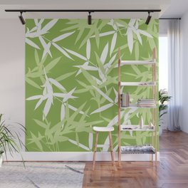 Green Bamboo Leaves Unique Pattern Wall Mural