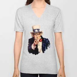 Uncle Sam Pointing Finger Unisex V-Neck