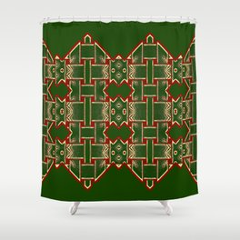 Weave on green background-2 Shower Curtain