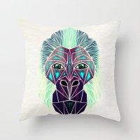 gorilla Throw Pillows featuring gorilla by Manoou