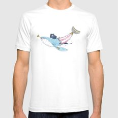 Pirate Whale Mens Fitted Tee SMALL White
