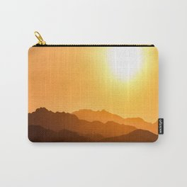 Orange Monochromatic Mountain Landscape Parallax Silhouette Yellow Orange Sunset Hues Carry-All Pouch