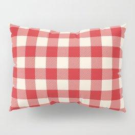 Buffalo Plaid Rustic Lumberjack Red and White Check Pattern Pillow Sham