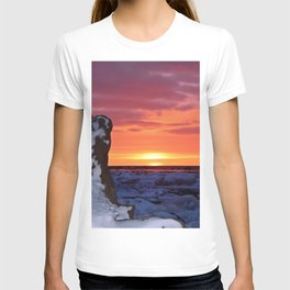 Golden Sunset on Sea and  Snow T-shirt