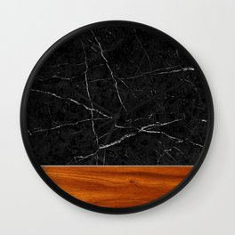 Marble and Wood Wall Clock