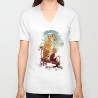 hobbes V-neck T-shirts featuring boy and Tiger by Tintanaveia