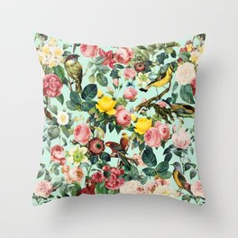Floral and Birds III Throw Pillow