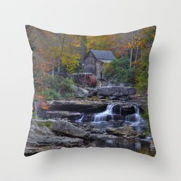 Glade Creek Grist Mill in Autumn Throw Pillow