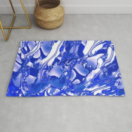 Blue and White Features Rug