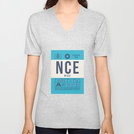 Baggage Tag B - NCE Nice Cote d'Azur France Unisex V-Neck