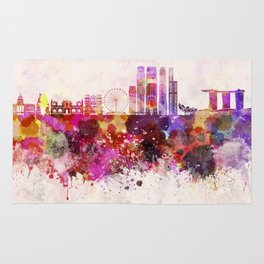 Singapore V2 skyline in watercolor background Rug