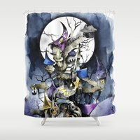 nightmare before christmas Shower Curtains featuring The nightmare before christmas by Sandra Ink