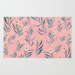 Pink white leaves Rug