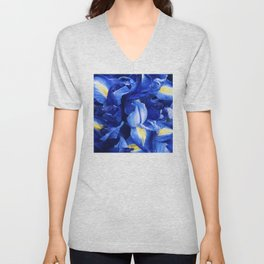 Indigo Blue Iris Floral With Yellow Accents Unisex V-Neck
