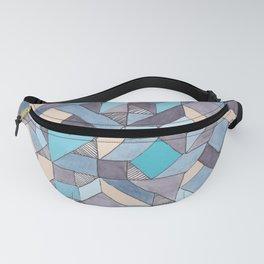 Shifitng Geometric Pattern in Blue Fanny Pack