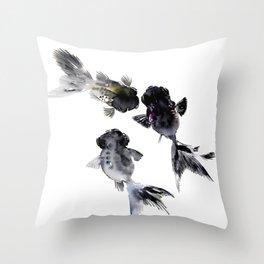 Black Moor, Feng Shui Koi Fish Art, Three Fish black fish decor Throw Pillow