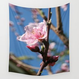 Delicate Buds of Peach Tree Blossom Wall Tapestry