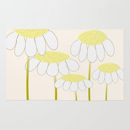 Whimsical Yellow Daisies Rug
