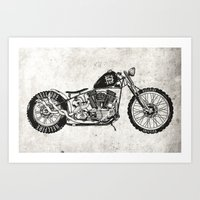 motorcycle Art Prints featuring Motorcycle by Ricca Design Co.
