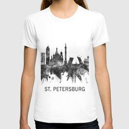 St. Petersburg Russia Skyline BW T-shirt
