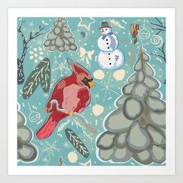 Snowman with Bird Art Print