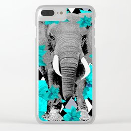 ELEPHANT and HARLEQUIN BLUE AND GRAY Clear iPhone Case