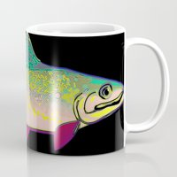 trout Mugs featuring Neon Rainbow Trout by Florian Rodarte