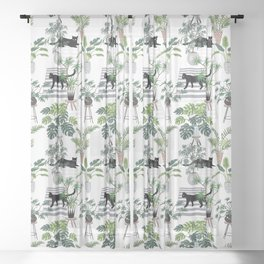 cats in the interior pattern Sheer Curtain