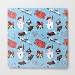 Christmas seamless pattern Metal Print