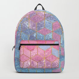 Pink and Blue Gradient Cube Pattern Backpack
