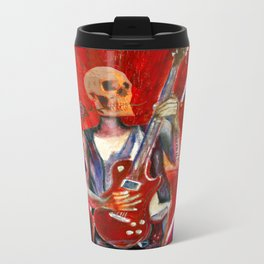 Fantasy art heavy metal skull guitarist Metal Travel Mug