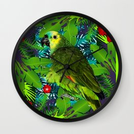 RED HIBISCUS & GREEN PARROT JUNGLE GRAY-GREEN ART Wall Clock