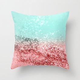 Summer Vibes Glitter #5 #coral #mint #shiny #decor #art #society6 Throw Pillow