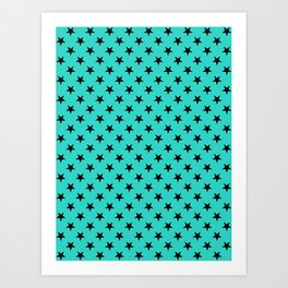 Black on Turquoise Stars Art Print