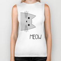 meow Biker Tanks featuring Meow by Hugh & West