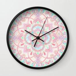 Mint and Blush Pink Painted Mandala Wall Clock