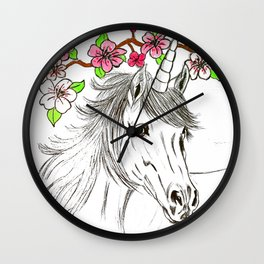 Unicorn and flowers Wall Clock