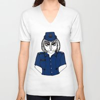 police V-neck T-shirts featuring Police Kitty by Sofy Rahman