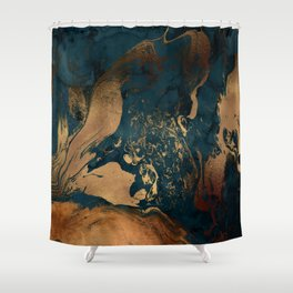 Emerald Indigo And Copper Glamour Marble Shower Curtain