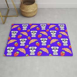 Cute happy funny baby puppy Schnauzers, sweet adorable yummy Kawaii croissants and red ripe summer strawberries cartoon blue pattern design Rug