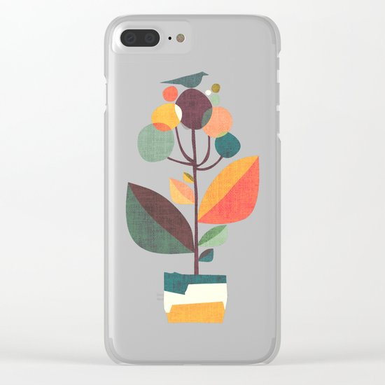 Potted plant with a bird Clear iPhone Case