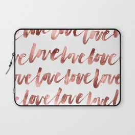 Love Script Rose Gold Typography Pattern Laptop Sleeve