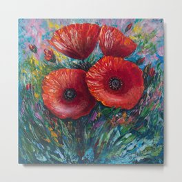 Red Poppies Oil Painting with a Palette Knife Metal Print