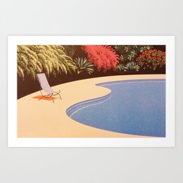 Painting, chair by the pool Art Print